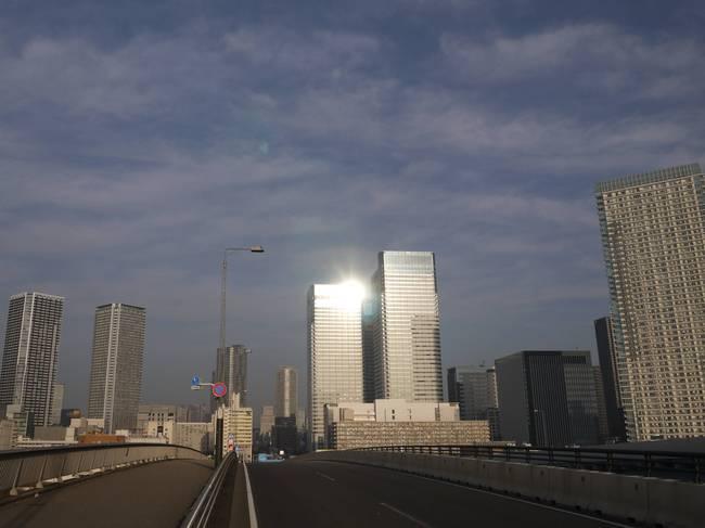 0802_晴海通りの朝日.JPG